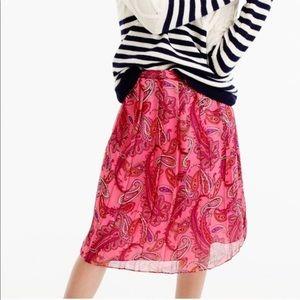 J CREW • double pleated silk paisley skirt